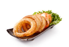 Onion rings on a plate Royalty Free Stock Photography