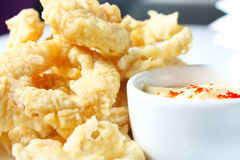 Onion rings with sauce Stock Photo