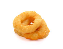 Onion rings tempura. Fried onion rings on white background royalty free stock photos