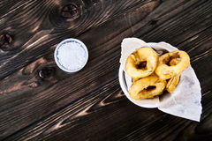 Onion rings top view Royalty Free Stock Photo