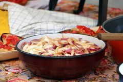 Onion salad in a pot Stock Photography