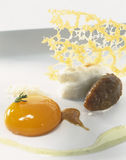 Onion saut  with egg yolk Stock Photos