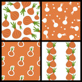 Onion Seamless Patterns Set Stock Photo