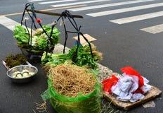 Onion sellers yoke Yichang Market Royalty Free Stock Photos