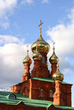 Onion shaped domes of Russian orthodox cathedral. Russian orthodox cathedral in Perm, the Urals, Russia (early XXth century Royalty Free Stock Image