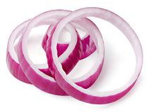 Onion slice isolated. Red onion slice rings isolated on white background Clipping Path royalty free stock photography