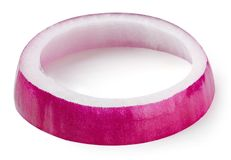 Onion slice. Red onion slice rings on white background Clipping Path stock photos