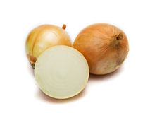Onion and slice on white Royalty Free Stock Photos