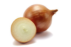 Onion with slice on white background Royalty Free Stock Image
