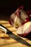 Onion sliced knife C Stock Photo