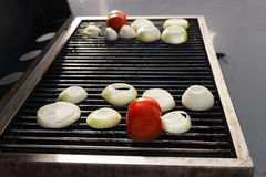 Tomato &  Onions on the Grill Stock Photo