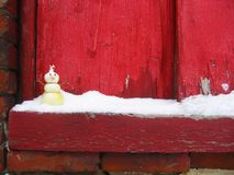 Onion Snowman on Snowy Windowsill Stock Photos