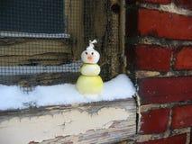 Onion_Snowman_on_Windowsill Royalty Free Stock Photos