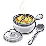 Onion soup. Art illustration of the onion soup Royalty Free Stock Photography