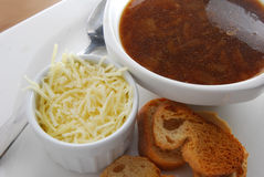 Onion soup with bread Royalty Free Stock Photo