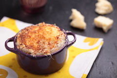 Onion soup with croutons Stock Images