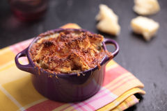 Onion soup with croutons Stock Photos