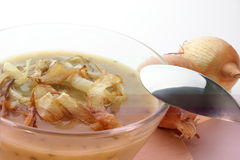 onion soup in a glass bowl Royalty Free Stock Photography