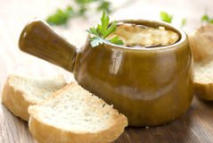 Onion soup from oven Stock Images