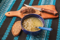 Onion soup with peas Royalty Free Stock Photography