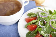 Onion Soup and Salad II Royalty Free Stock Images