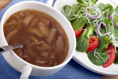 Onion Soup and Salad III Royalty Free Stock Photos
