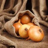 Onion spill out of the bag of coarse cloth Royalty Free Stock Photos
