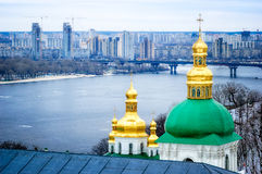 Onion Steeples of Lavra Monastery in Kiev Stock Photography