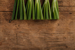 Onion sticks on wooden table Royalty Free Stock Photo