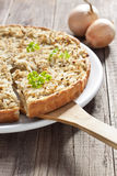 Onion tart. Piece of Swabian onion tart Royalty Free Stock Image