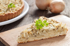 Onion tart. Piece of Swabian onion tart Stock Images