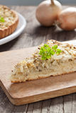 Onion tart. Piece of Swabian onion tart Royalty Free Stock Photo