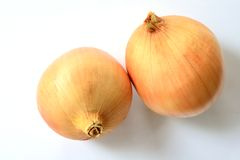 Onion. A two Onion on the white paper Stock Images