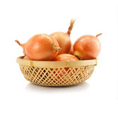 Onion vegetable fruits in vaze isolated Royalty Free Stock Photos