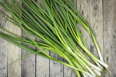 Onion welsh on wood plank Royalty Free Stock Images