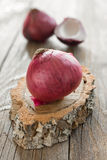Onion on wood selective focus Royalty Free Stock Photos