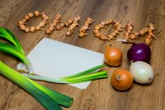 Fresh onions. Onions background. top view, place for the text Stock Photo