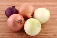 Onions. Food - Onions on kitchen board stock image