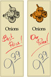 Onions. Two Price Tags with Vintage Effect Stock Photos