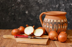 Onions and accessories for cooking food Royalty Free Stock Image