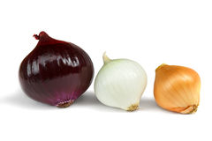Onions assorted isolate on a white background. Some onions assorted isolate on a white background Royalty Free Stock Image
