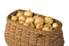 Onions in the basket Stock Photos