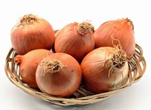 Onions in a basket Stock Photography