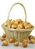 Onions in a basket. Royalty Free Stock Photography