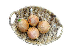 Onions in a basket Stock Photo