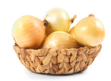 Onions in a basket Stock Photos