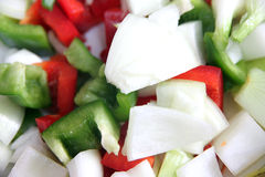 Onions and bell pepper slices. Royalty Free Stock Image