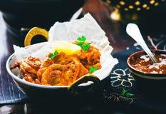 Onions  bhaji with mango chutney Stock Images