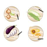 Onions, Bitter Squash, Eggplant and Butternut Squash Royalty Free Stock Photography