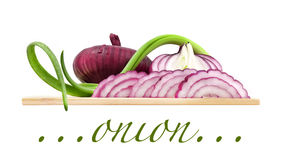 Onions on board Stock Photos